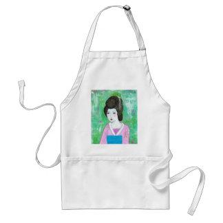 Geisha Girl Mixed Media Abstract Painting Standard Apron