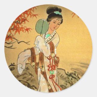 Geisha Girl with Fan Round Sticker