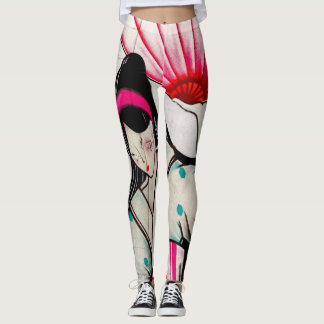 Geisha Girl with Umbrella Leggings