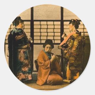 Geisha Girls Magic Lantern Slide Round Sticker