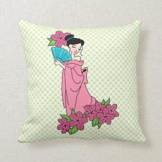"Geisha GirlThrow Pillow 16"" x 16"""
