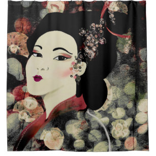 Geisha Graphic Shower Curtain Deep Jewel Tones