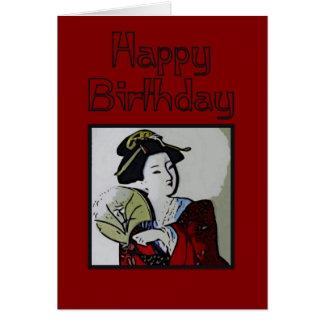 Geisha Happy Birthday Card
