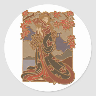 Geisha in Black Kimono and Fan Classic Round Sticker
