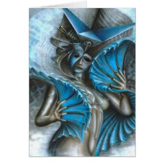 Geisha in blue card