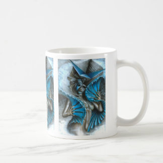 Geisha in blue coffee mug