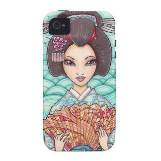 Geisha in Blue Kimono Ukiyoe Art iPhone 4 Case