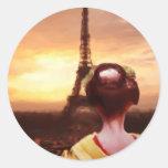Geisha in Paris Round Sticker