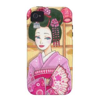 Geisha in Pink Kimono iPhone 4 Case