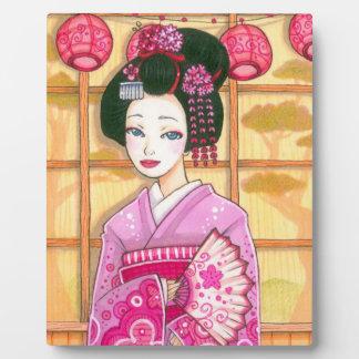 Geisha in Pink Kimono Japanese Art Plaque
