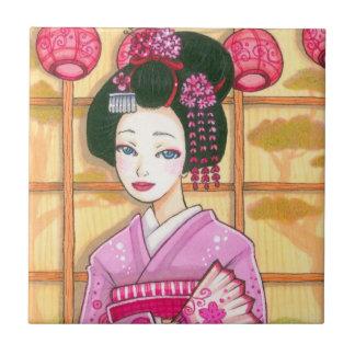 Geisha in Pink Kimono Japanese Art Tile