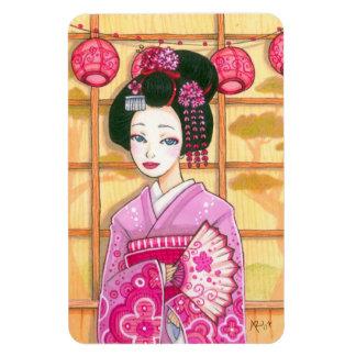 Geisha in Pink Kimono Photo Magnet