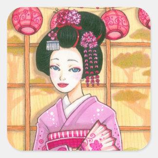 Geisha in Pink Kimono Square Sticker
