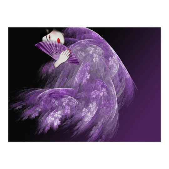 Geisha in Purple Poster