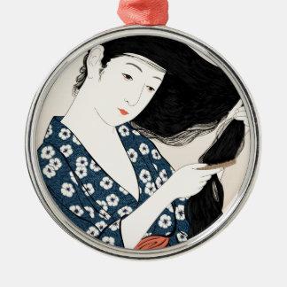 Geisha Japan Silver-Colored Round Decoration