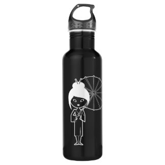 Geisha Lady white on black 710 Ml Water Bottle