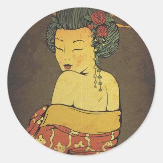 Geisha Normal Round Sticker