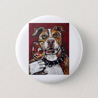 Geisha pitbull wine 6 cm round badge
