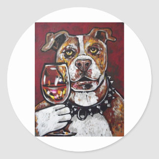 Geisha pitbull wine classic round sticker