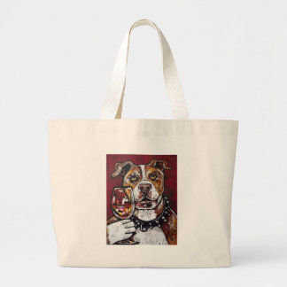 Geisha pitbull wine large tote bag