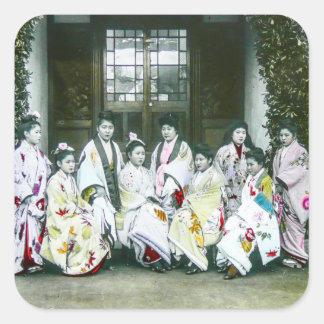 Geisha Posing by Brothel Vintage Glass Slide Square Sticker