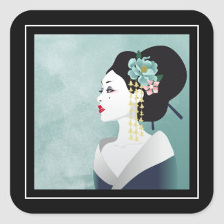Geisha Profile in Black and Turquoise Square Sticker