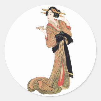 Geisha Round Sticker