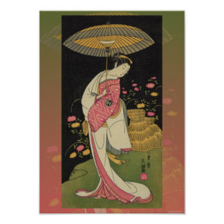 Geisha Umbrella Abstract Japan Pop Art Poster