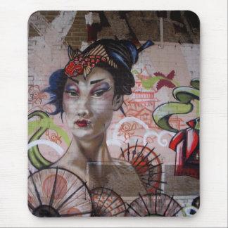 Geisha Urban Graffiti Street Art Mouse Pads