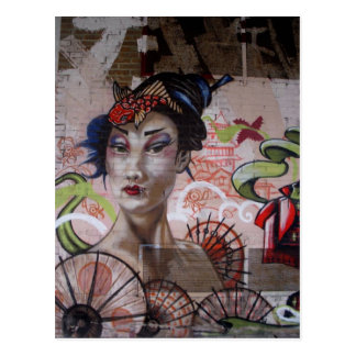 Geisha Urban Graffiti Street Art Postcard