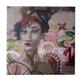 Geisha Urban Graffiti Street Art Small Square Tile