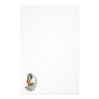 Geisha With Floral Cascade Stationery Paper