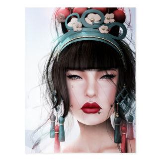 Geisha with Kissable Lips Postcard