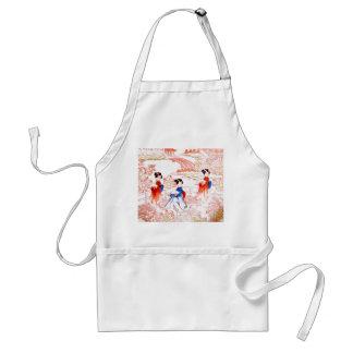 Geishas in garden apron