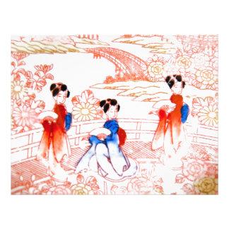 Geishas in garden full color flyer