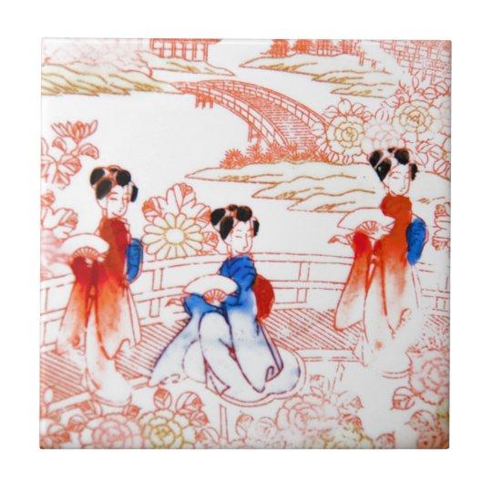 Geishas in garden small square tile