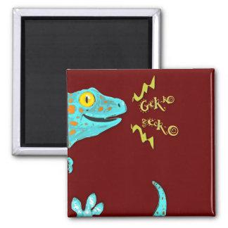 """Gekko gecko"" Cute Calling Tokay Gecko Square Magnet"