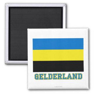 Gelderland Flag with name Square Magnet