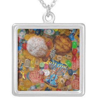 Gelt, Dreidels, Menorah, Sufganiot, & Latke Square Pendant Necklace
