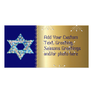 Gem decorated Star of David Customised Photo Card