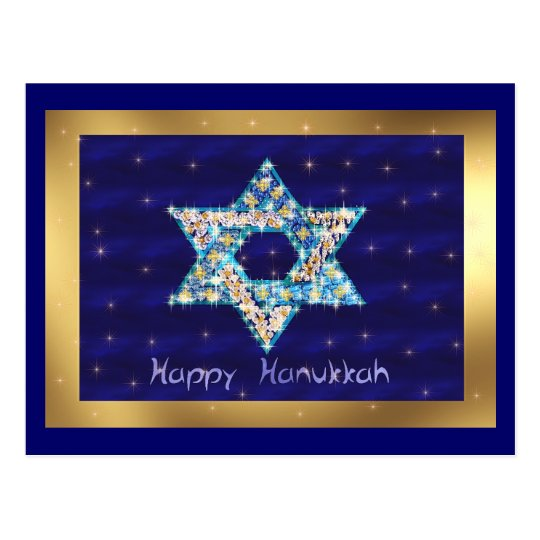 Gem decorated Star of David Postcard