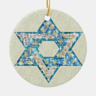 Gem decorated Star of David Round Ceramic Decoration