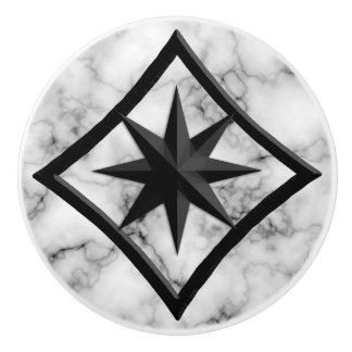 Gem Stone, Gray / Grey Marble & Black Onyx Ornamen Ceramic Knob