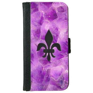 Gem Stone Pattern, Amethyst & Black Onyx iPhone 6 Wallet Case