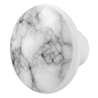 Gem Stone Pattern, Gray / Grey and White Marble Ceramic Knob