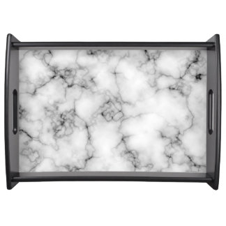Gem Stone Pattern, Gray / Grey and White Marble Serving Tray
