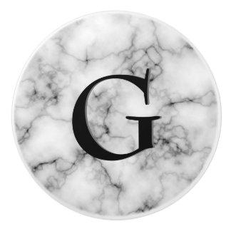 Gem Stone Pattern, Gray / Grey Marble & Black Onyx Ceramic Knob
