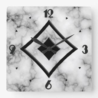 Gem Stone Pattern, Gray / Grey Marble & Black Onyx Square Wall Clock