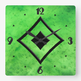 Gem Stone Pattern, Lime Green Jade & Black Onyx Square Wall Clock