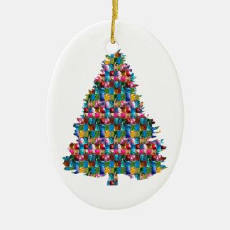 GEM studded XMAS Tree :  Merry Christmas Ceramic Oval Decoration